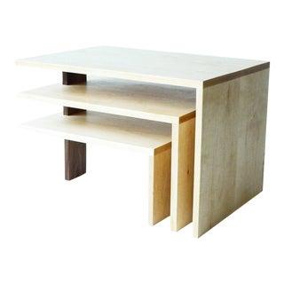 Modern 3-Tier Hardwood Coffee Table For Sale
