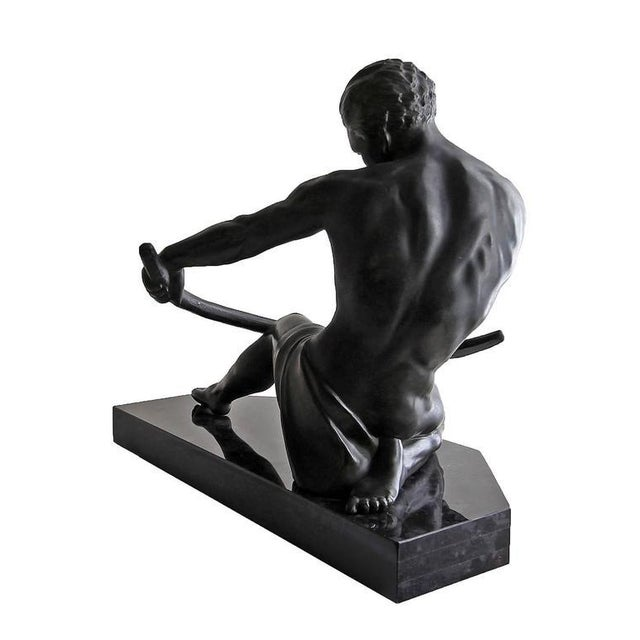 Art Deco Early 20th Century Vintage Art Deco Seminude Male Sculpture For Sale - Image 3 of 7