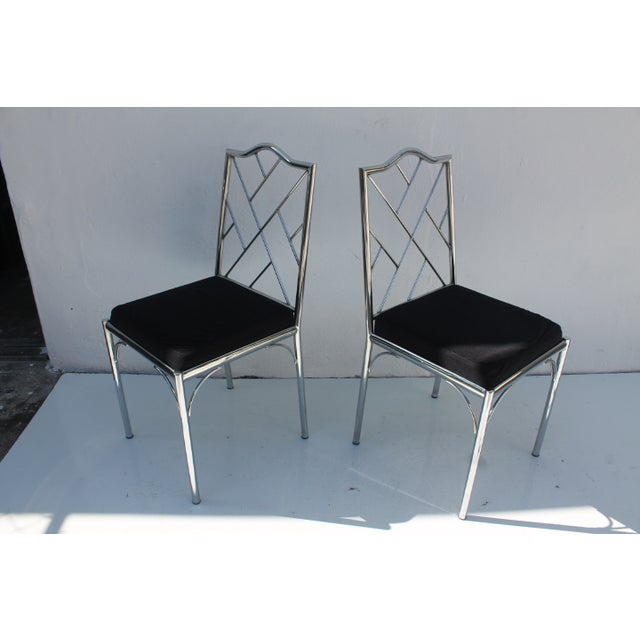 Vintage Chrome Dining Chairs - Pair - Image 6 of 7