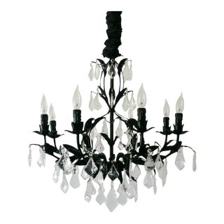 8-Light French Crystal Pendalogue Chandelier
