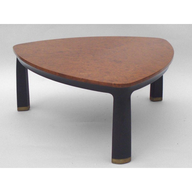 Americana Carpathian Elm Burl Top Cocktail Table by Edward Wormley for Dunbar For Sale - Image 3 of 4