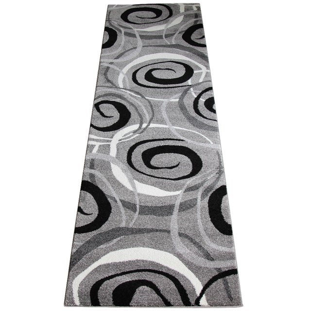 Gray Circles Rug Runner Rug -- 3' x 10' - Image 1 of 4