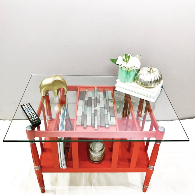 Magazine Rack Glass Top Coffee Table - Image 5 of 9