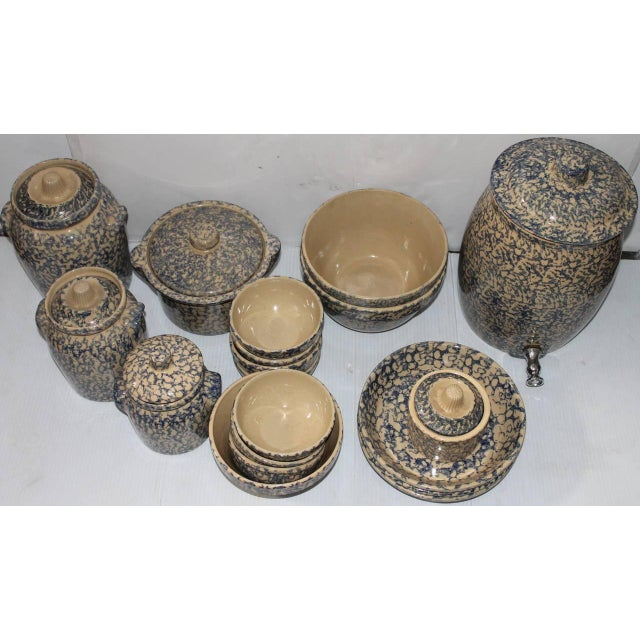 Country Rare Set of 19th Century Spongware Kitchen Organizer For Sale - Image 3 of 3