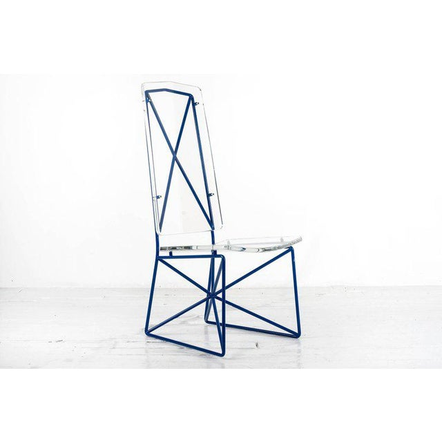 ARTURO PANI (1915 - 1981) Set of four Modernist prototype side chairs in lucite with enameled steel frames. Executed by...