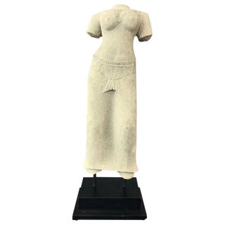 Khmer Sandstone Female Statue Torso For Sale