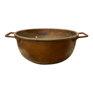 Antique Copper Riveted Iron Handle Taffy Bowl