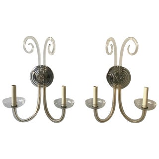 1940s Hollywood Regency Glass Sconces For Sale