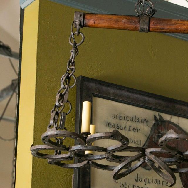 1940s Wrought Iron Horseshoe Chandelier For Sale - Image 5 of 7
