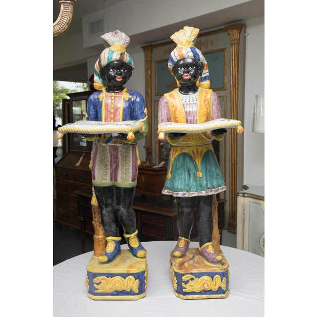 Pair of Italian Magnificent Glazed Blackamoors For Sale - Image 11 of 11