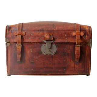 Antique Leather Trunk For Sale