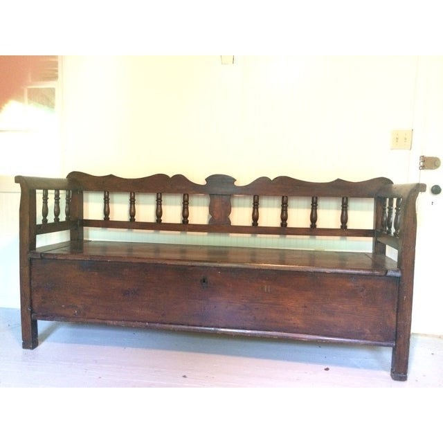 Antique European Hall Bench With Storage - Image 3 of 8