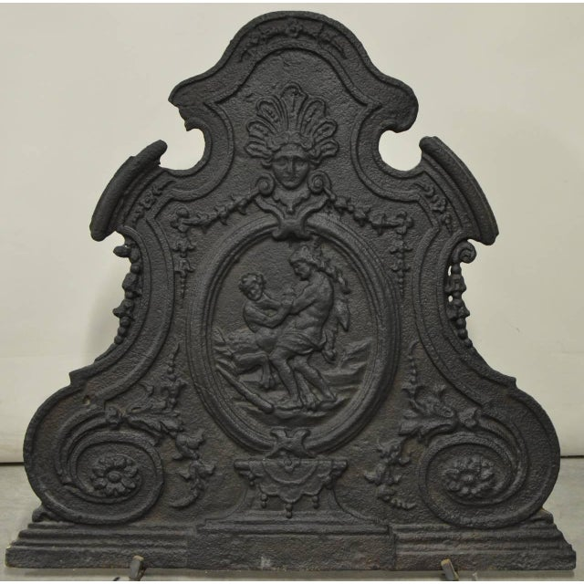 French Antique 18th Century Cast Iron French Hercules and Antaeus Fireback For Sale - Image 3 of 3