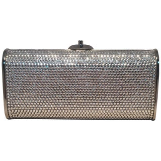 Judith Leiber Silver Clear Swarovski Crystal Minaudiere Evening Bag Clutch For Sale