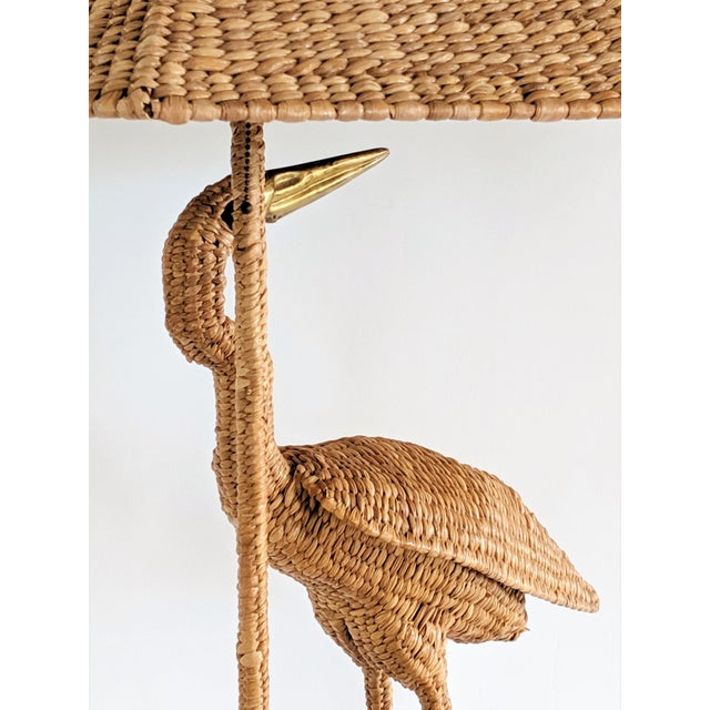 Mario Lopez Torres 1974 Monumental Egret Wicker Table Lamp For Sale - Image 9 of 13