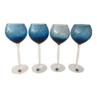 Vintage Handmade Cut Crystal Wine Glasses - Set of 4 For Sale
