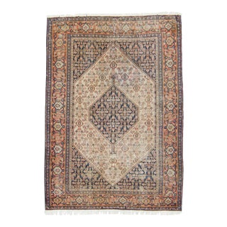 1910s Antique Senneh Medallion Navy Apricot Wool and Cotton Hand-Knotted Rug For Sale