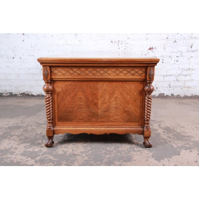 Antique Carved Burled Walnut Executive Lincoln Desk, Chicago, Circa 1930s For Sale - Image 9 of 13