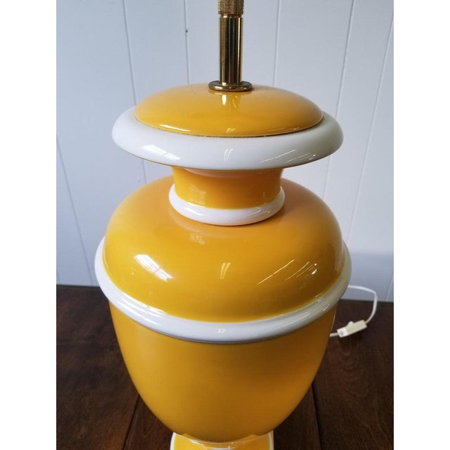Mid 20th Century Vintage Italian Ceramic Lamp in Yellow and White For Sale - Image 5 of 9