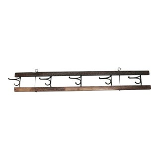 Antique Wooden and Cast Iron Foldable Hat Rack For Sale