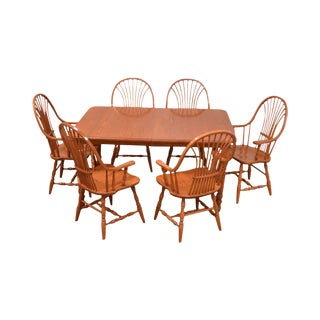Custom Quality Oak Table & 6 Wheat Back Windsor Chairs Dining Set For Sale