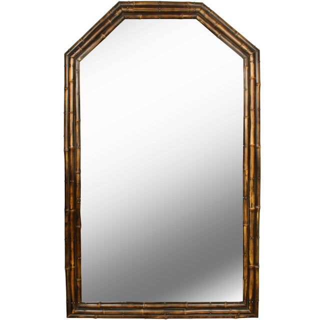 English Vintage English Faux Bamboo Mirror For Sale - Image 3 of 3
