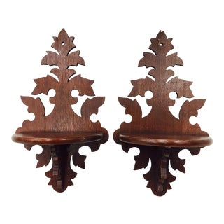 Antique Wooden Wall Shelves - A Pair For Sale