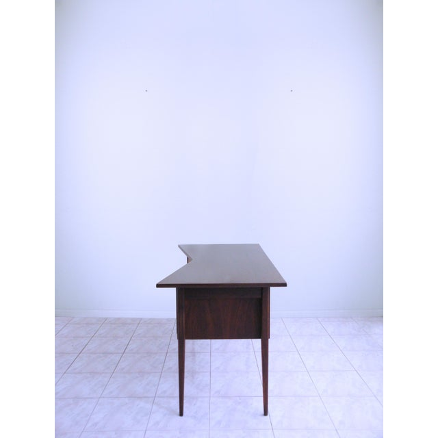 Contemporary Edward Wormley for Dunbar Teak & Cane Desk For Sale - Image 3 of 6