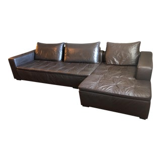 BoConcept Modern Leather Sectional With Chaise For Sale