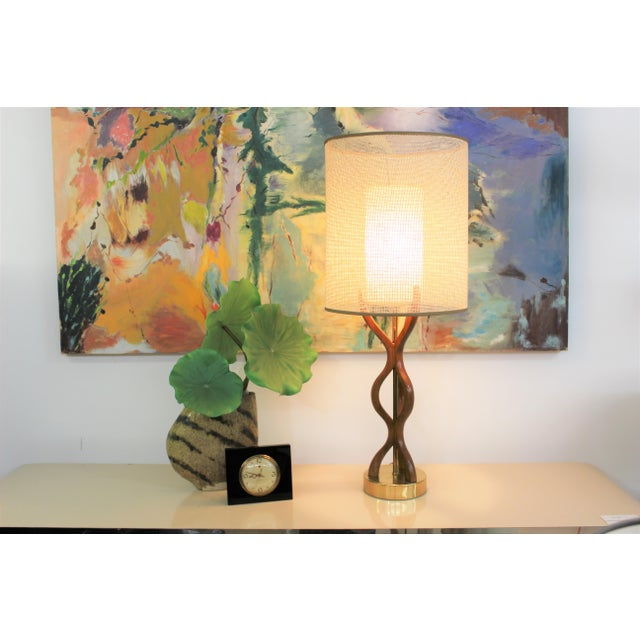 Wood Mid Century Modern danish table lamp For Sale - Image 7 of 11