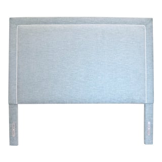 Traditional Sky Blue Fabric Upholstered Headboard For Sale