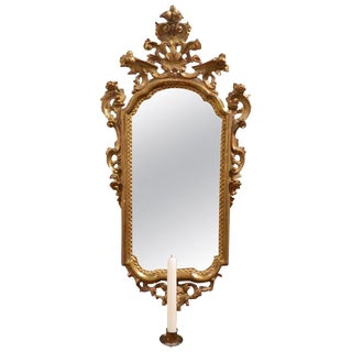 French Gold Gilt Mirror With a Candle Sconce, 19th Century For Sale