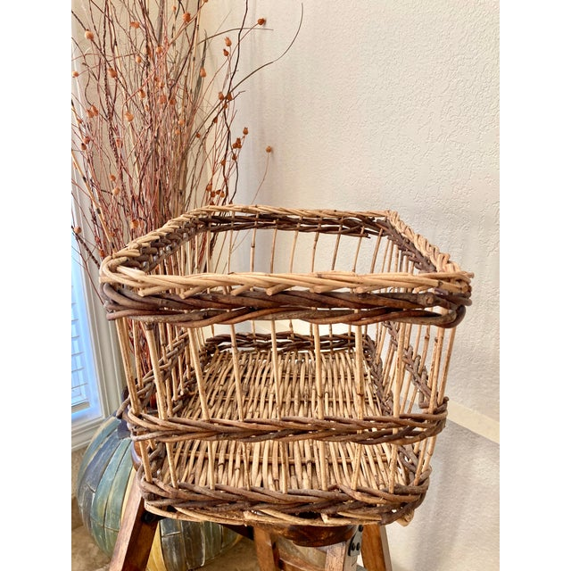 Crisscross Open Weave Handwoven Rattan & Willow Basket by Three Hands - Circa 1990 For Sale - Image 4 of 13