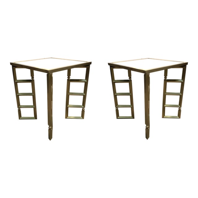 Global Views Modern White and Brass Beveled Leg Side Tables Pair For Sale