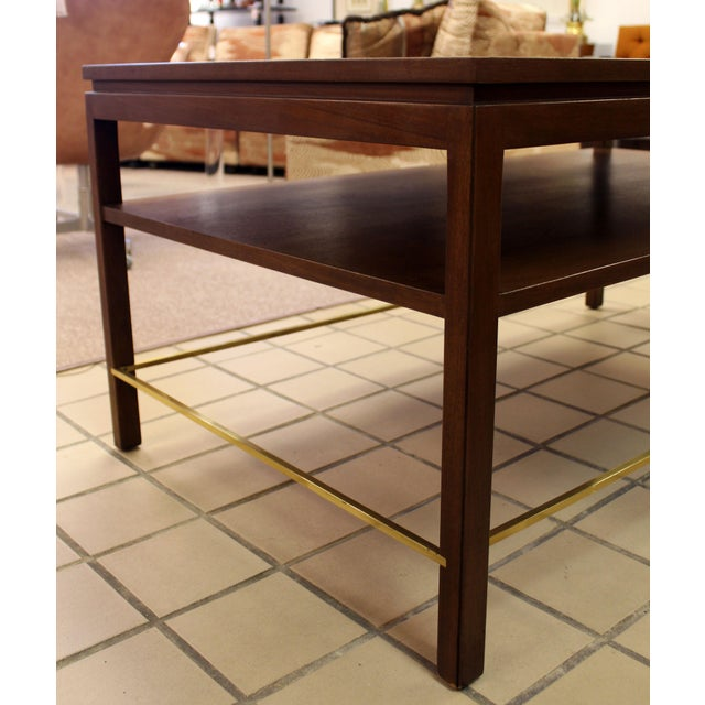 Brown Mid Century Modern Wormley Dunbar Walnut Brass Coffee Occasional Console Table For Sale - Image 8 of 13