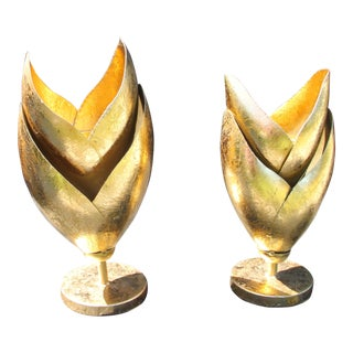 Arteriors Home Edith Gold Finish Two Piece Candelabras - a Pair For Sale
