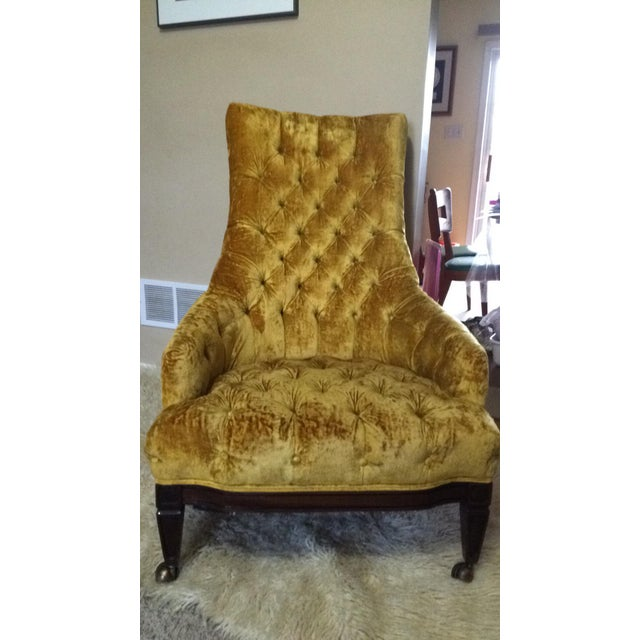 Mid-Century Tufted High Back Chair - Image 6 of 6