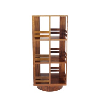 Danish Moden Rosewood Revolving Bookcase Record Cabinet Shelf For Sale