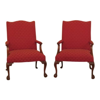 Pair of Councill Craftsmen Ball & Claw Mahogany Library Chairs For Sale