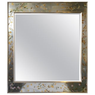 La Barge Floral Silver Leaf Mirror For Sale