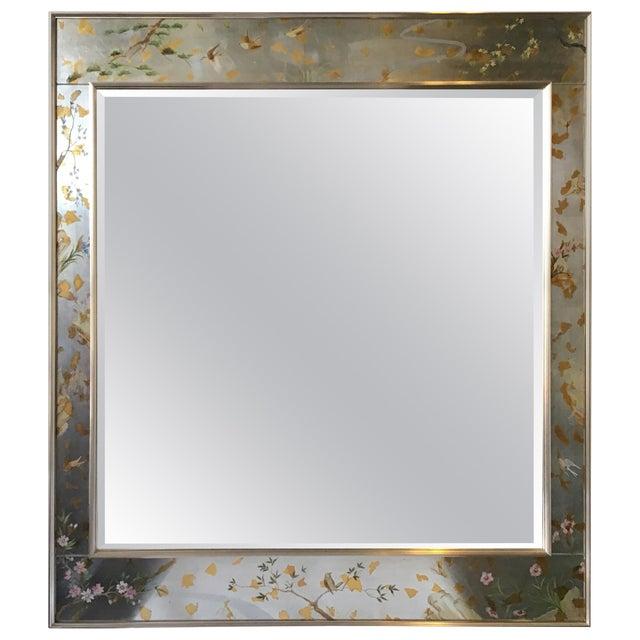La Barge Floral Silver Leaf Mirror For Sale