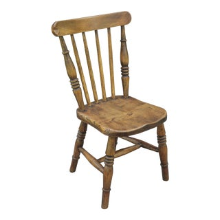 Antique English Elm Child's Chair For Sale