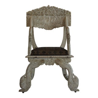 1910s Antique Asian White Side Chair
