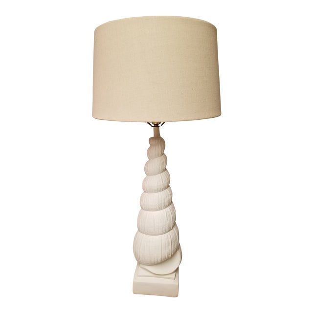 Sirmos Mid-Century Coastal Chic Plaster Auger Shell Table Lamp For Sale