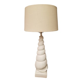 Sirmos Style Mid-Century Coastal Chic Plaster Auger Shell Table Lamp For Sale