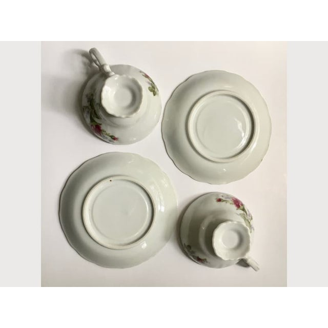Mid 20th Century Footed Moss Rose Bone China Tea Cups - Service for 2 For Sale - Image 5 of 12