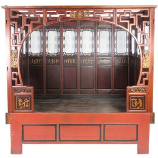 Chinese Canopy Wedding Opium Bed Carved For Sale