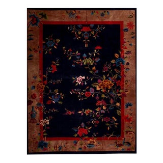 1930s Chinese Art Deco Floral Rug-8′10″ × 11′6″ For Sale