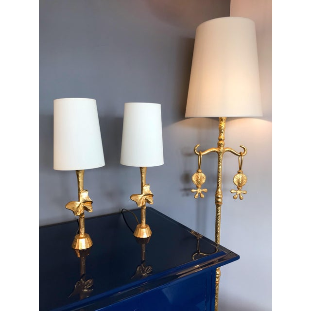 1980s Pair of Bronze Style Butterfly Lamps by Fondica, France, 1980s For Sale - Image 5 of 9