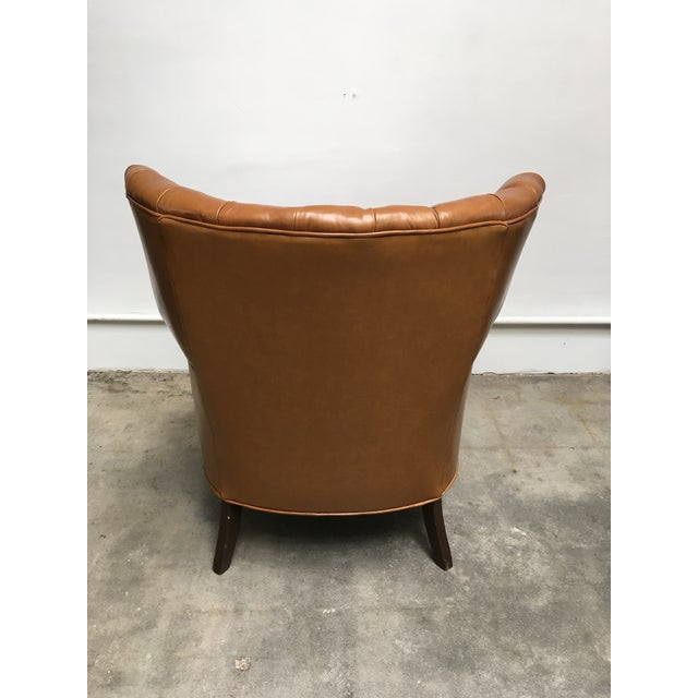 Wood 1940s Unique Channel Back Bucket Wing Chair For Sale - Image 7 of 13